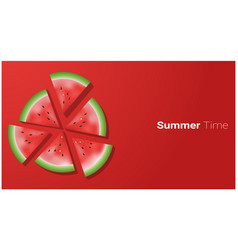 hello summer background with watermelon vector image