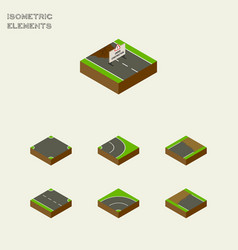 Isometric way set of crossroad rightward vector