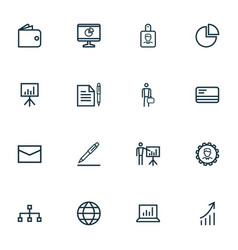Job icons line style set with leader hierarchy vector