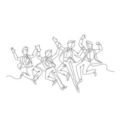 Jumping businessman continuous line art vector