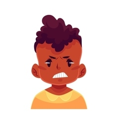 Little boy face angry facial expression vector