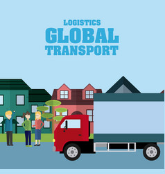 Logistic global transport concept vector