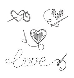 Logo set sewing theme with heart vector