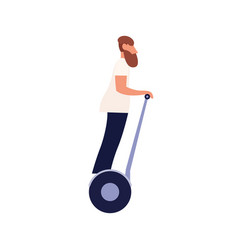 modern bearded man riding driving electric self vector image
