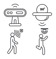 Motion sensor detector icons set outline style vector