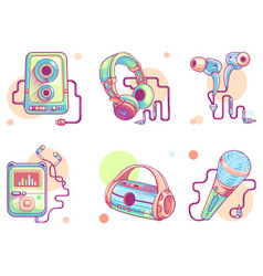 music or audio line art icons color pictograph vector image