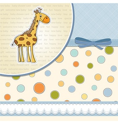New baby announcement card with giraff vector