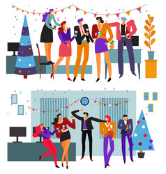 new year office bush and corporate dance party vector image