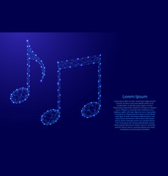 notes music from futuristic polygonal blue lines vector image