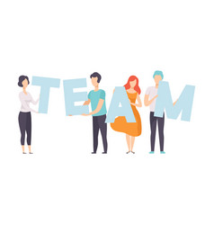 office workers holding word team teamwork vector image