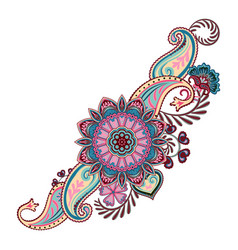 ornate ornament with fantastic flowers with vector image