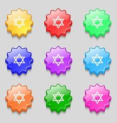 Pentagram icon sign symbol on nine wavy colourful vector