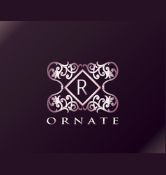 Pink luxury brand letter r elegant logo badge vector