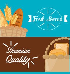 Poster fresh bread premium quality design vector