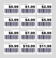 Price tag barcode label set vector