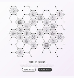 Public signs concept in honeycombs thin line icons vector