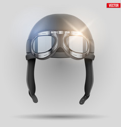 retro aviator helmet with goggles vector image