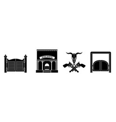 Saloon icon set simple style vector