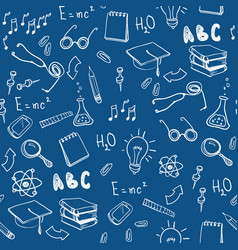 seamless pattern with school elements back to vector image
