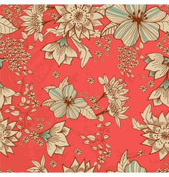 seamless red floral background vector image