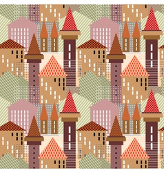 Seamless town pattern vector