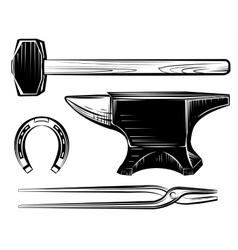 Set blacksmith craft anvil hammer vector