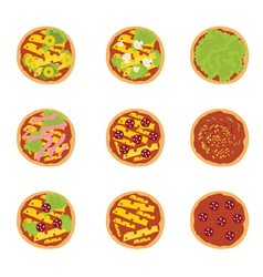 Set of of tasty pizza vector image