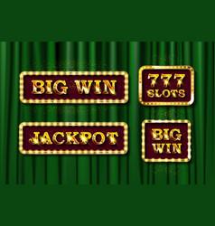 shining text jackpot big win and 777 slots vector image