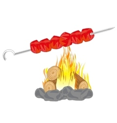Shish kebab on campfires vector