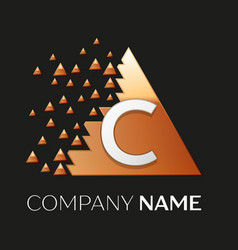 Silver letter c logo symbol in the triangle shape vector
