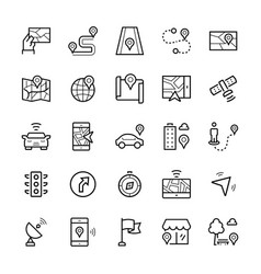 simple icon set navigation items in thin line vector image