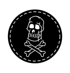 Skull And Cross Bone Circle Patch vector image