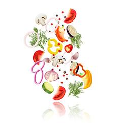 Sliced vegetables concept vector