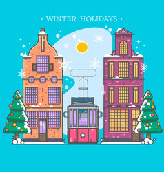 snowy street urban winter landscape christmas vector image