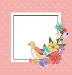 spring card bird flower frame decoration vector image