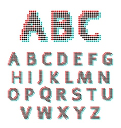 Stereoscopic circles font vector