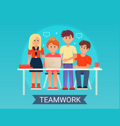 successful business teamwork concept with happy vector image