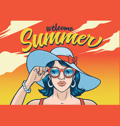 summr girl wearing sunglasses vector image