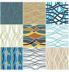 Tangled curvy lines seamless patterns set repeat vector