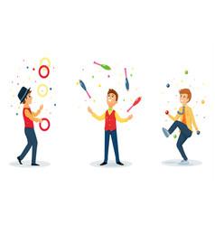 three cartoon jugglers performs a circus trick vector image