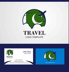 Travel pakistan flag logo and visiting card design vector