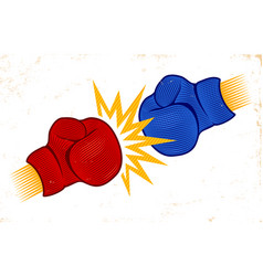 two boxing gloves in engraving style vector image