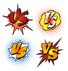 versus letters in cartoon grunge style vector image