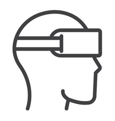 Virtual reality glasses line icon game vector