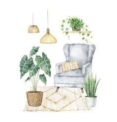 Watercolor aesthetic room decor boho cozy vector