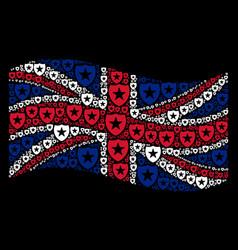 Waving great britain flag mosaic of guard items vector