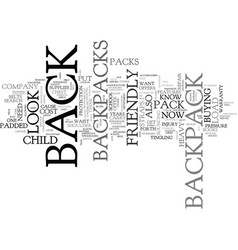 what to look for in a backpack text word cloud vector image