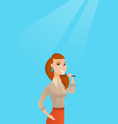 Woman brushing teeth vector