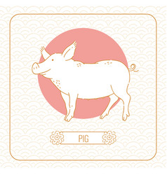 Year pig chinese horoscope line art and vector