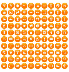 100 cycling icons set orange vector